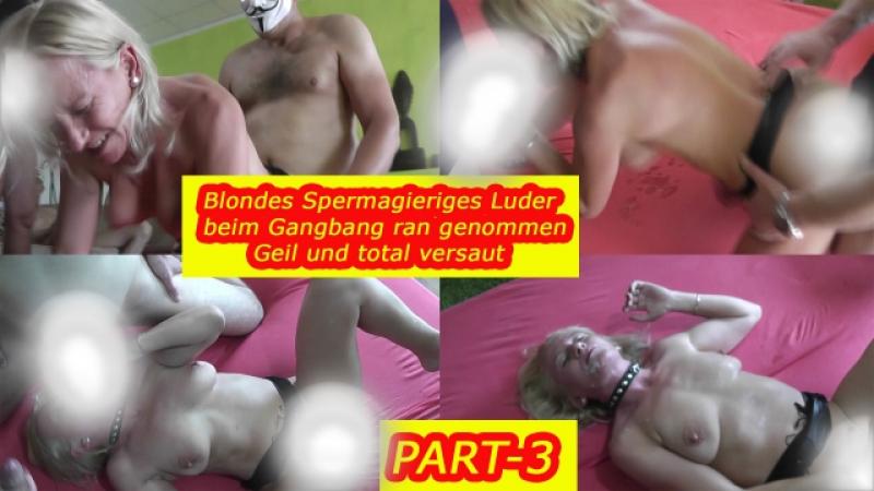 Blondes Gangbangluder beim Gangbang durchgevögelt-3